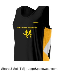 Pint Sized Harrier Youth Running Singlet. Design Zoom